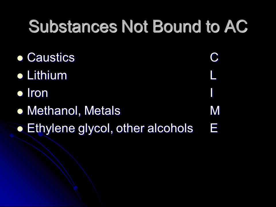 Substances Not Bound to AC