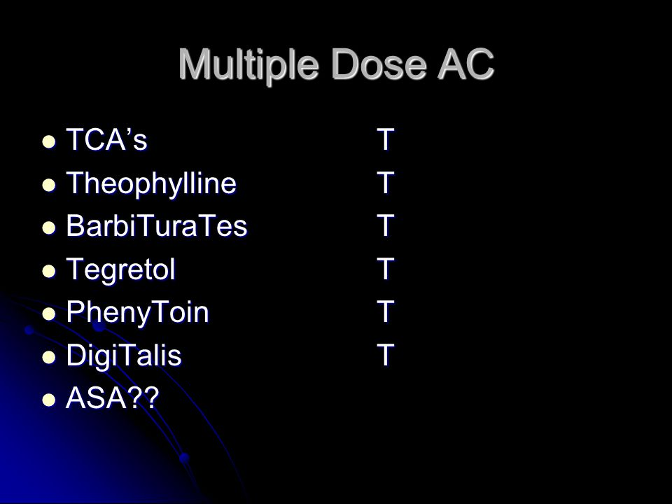 Multiple Dose AC TCA's T Theophylline T BarbiTuraTes T Tegretol T