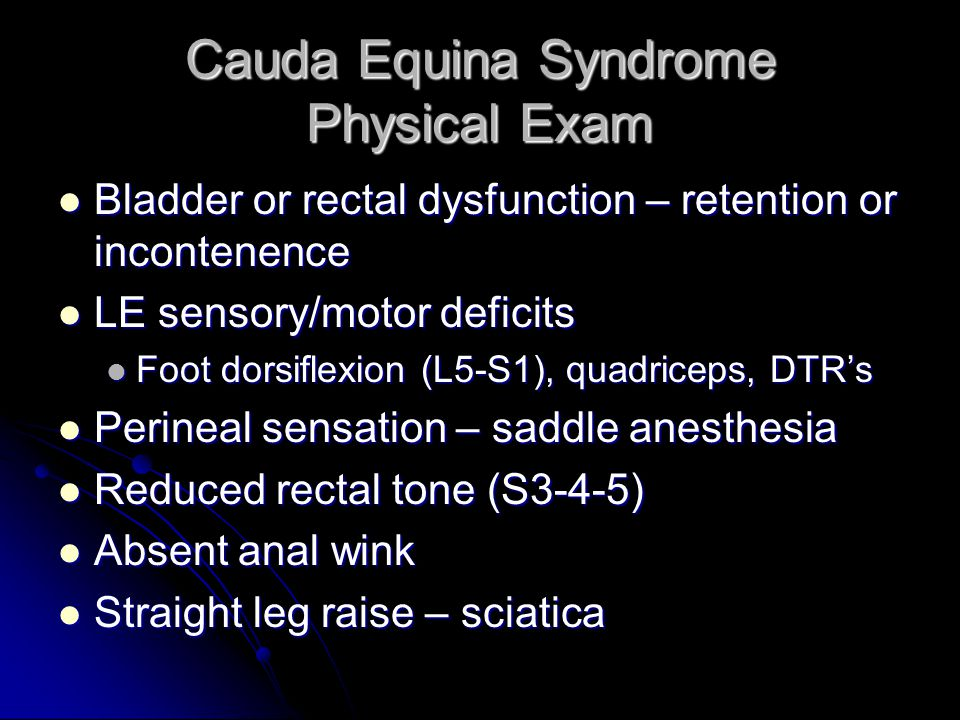 Cauda Equina Syndrome Physical Exam