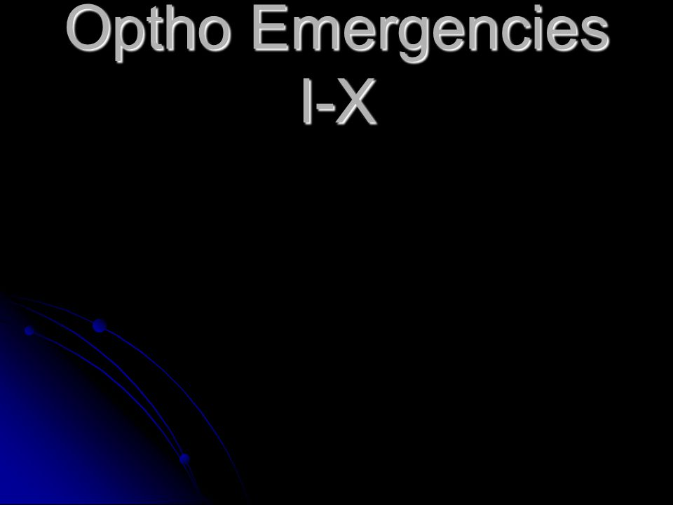 Optho Emergencies I-X
