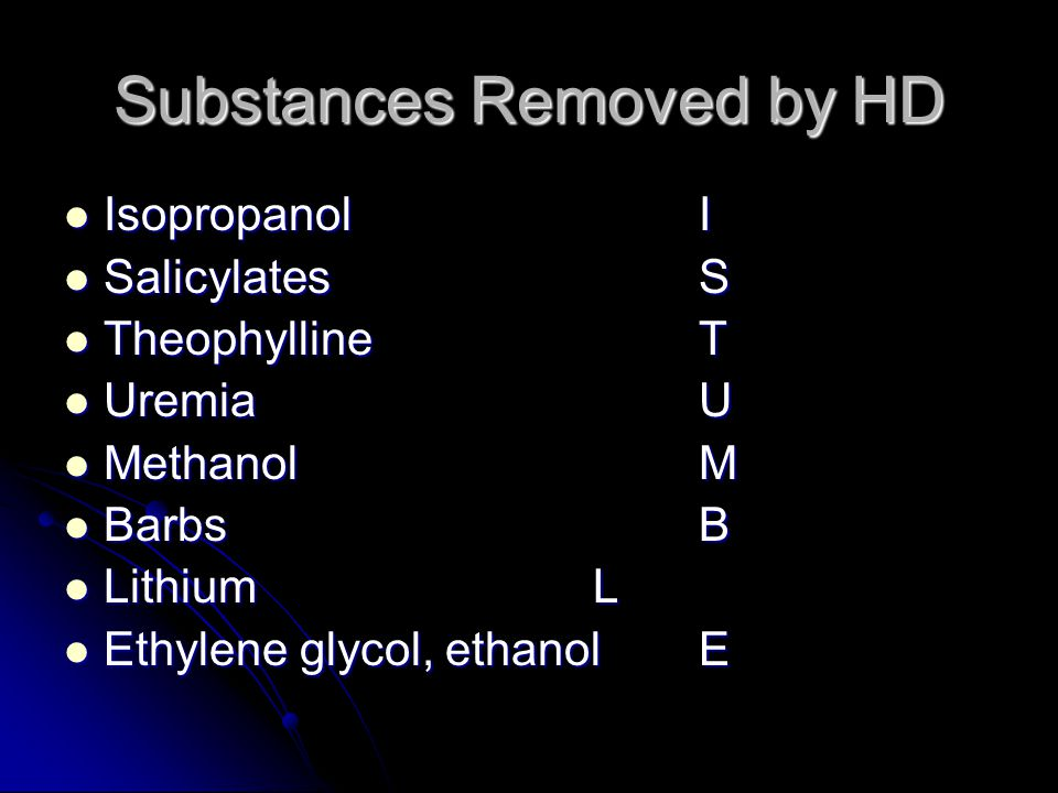 Substances Removed by HD