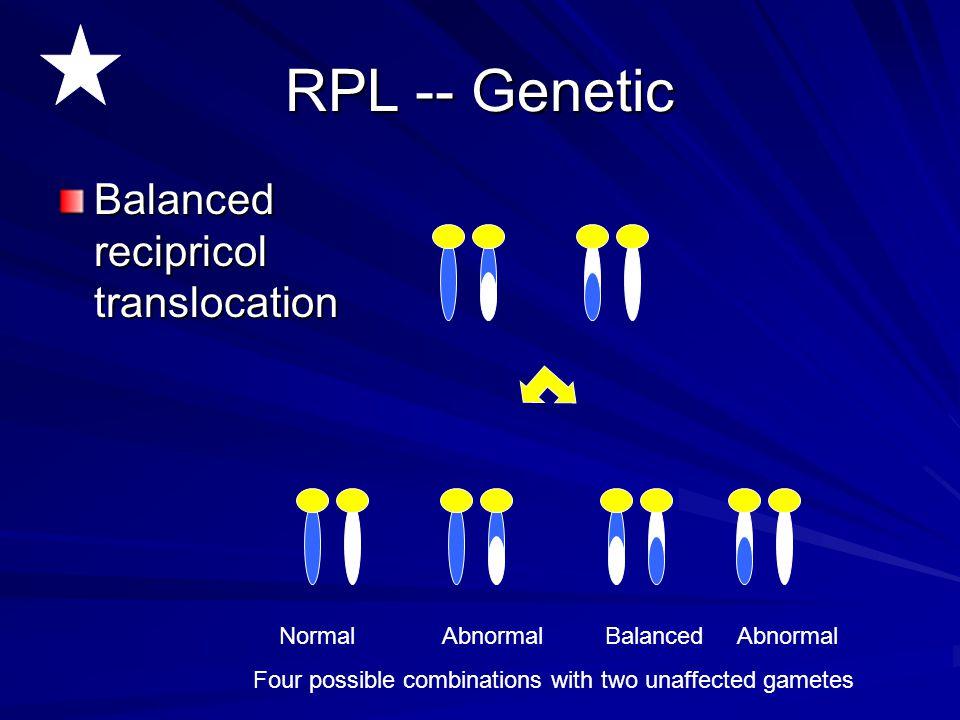 RPL -- Genetic Balanced recipricol translocation