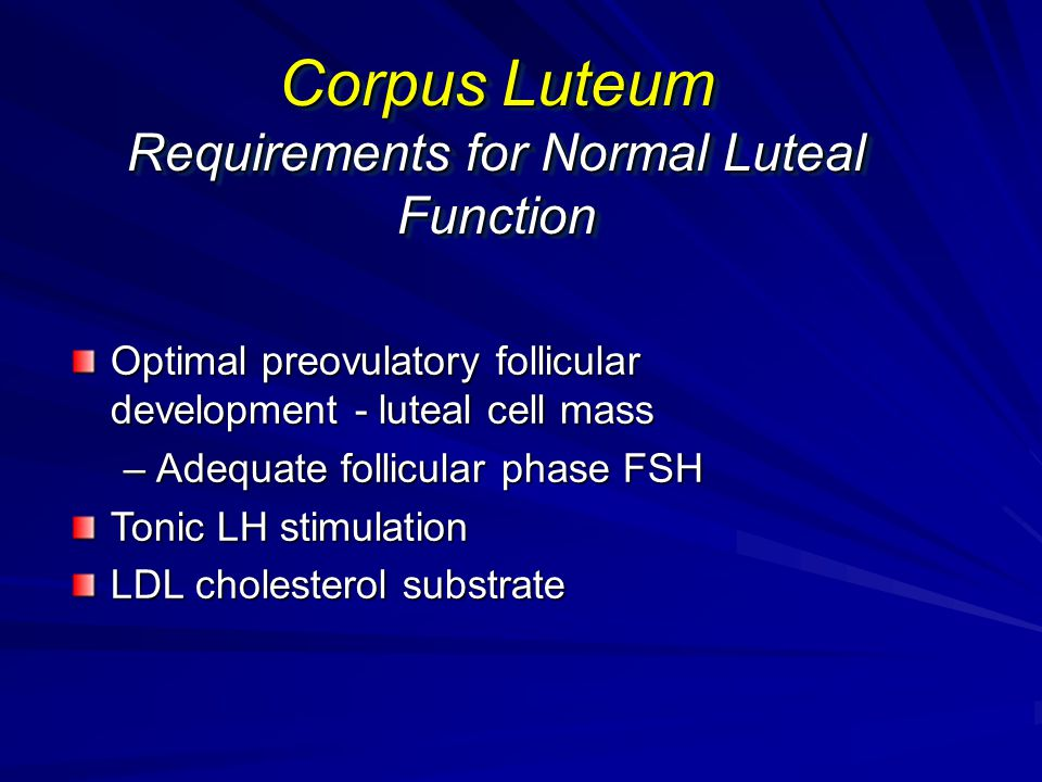 Corpus Luteum Requirements for Normal Luteal Function