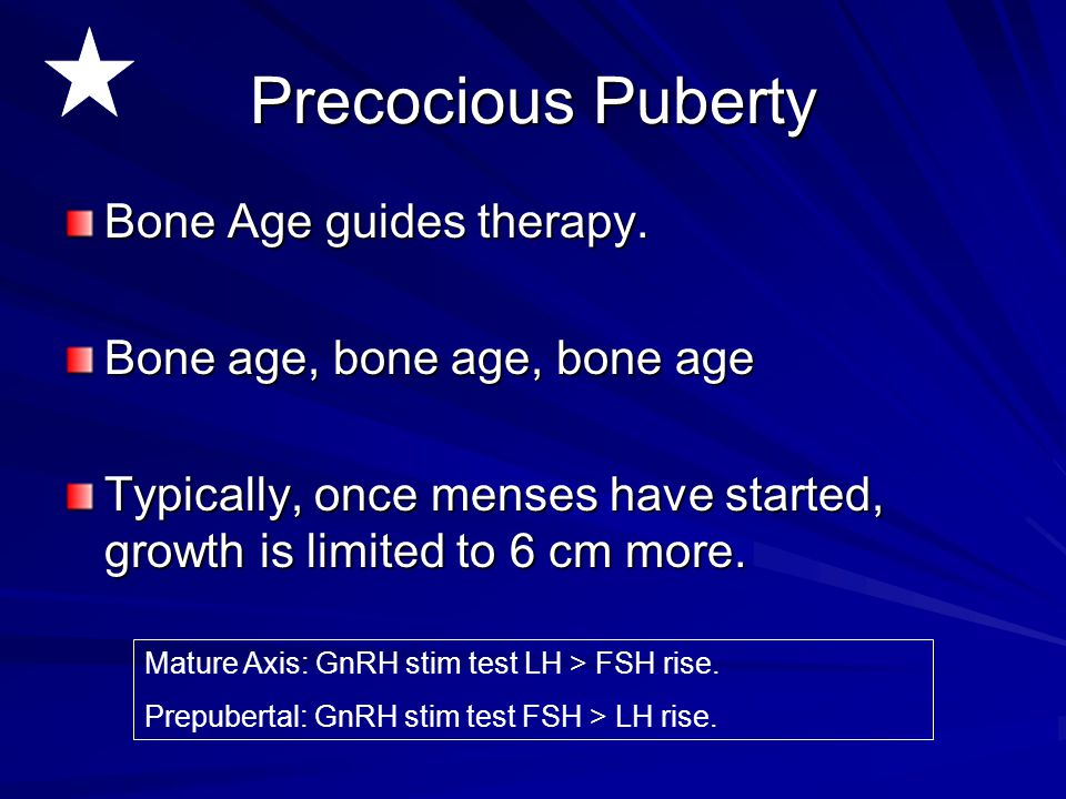 Precocious Puberty Bone Age guides therapy.