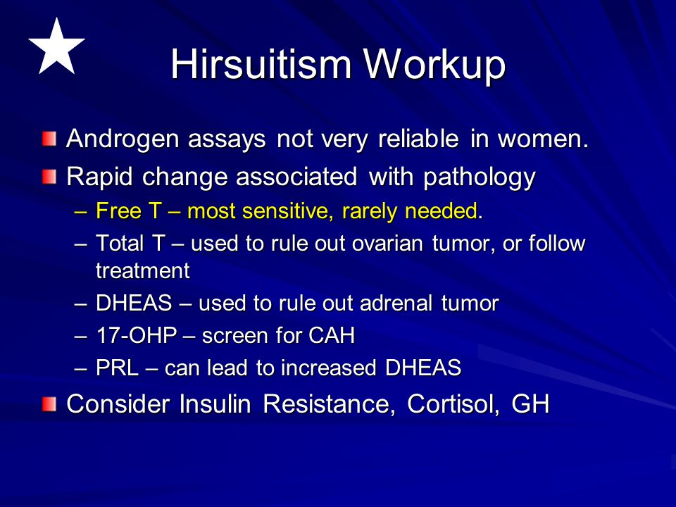 Hirsuitism Workup Androgen assays not very reliable in women.