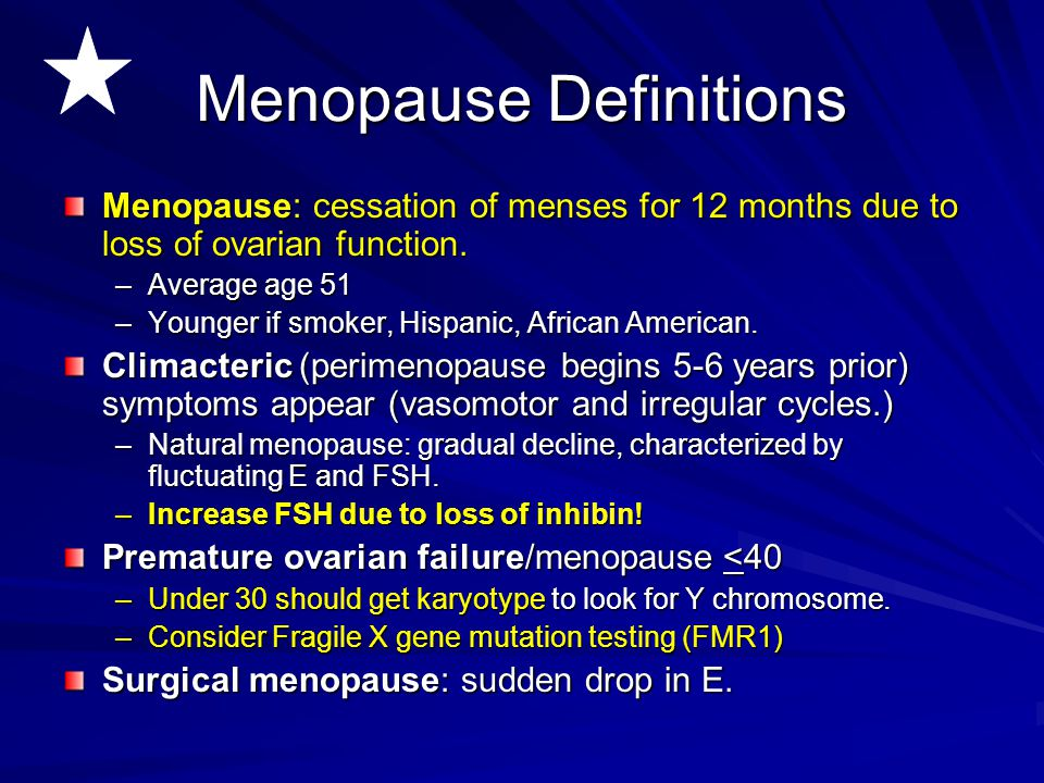 Menopause Definitions