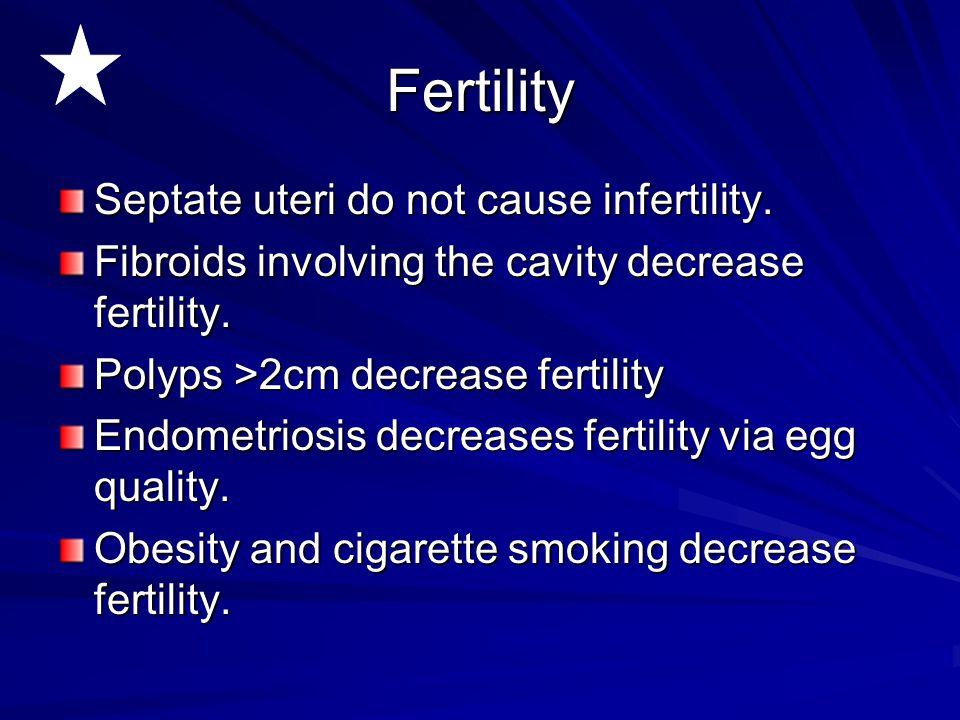 Fertility Septate uteri do not cause infertility.