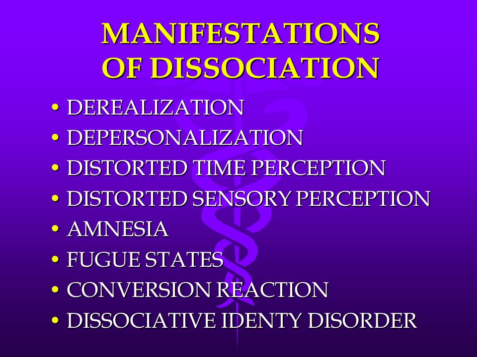 MANIFESTATIONS OF DISSOCIATION