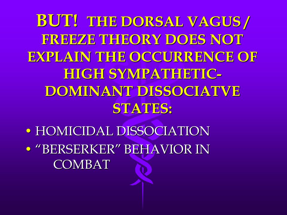 BUT! THE DORSAL VAGUS / FREEZE THEORY DOES NOT EXPLAIN THE OCCURRENCE OF HIGH SYMPATHETIC-DOMINANT DISSOCIATVE STATES: