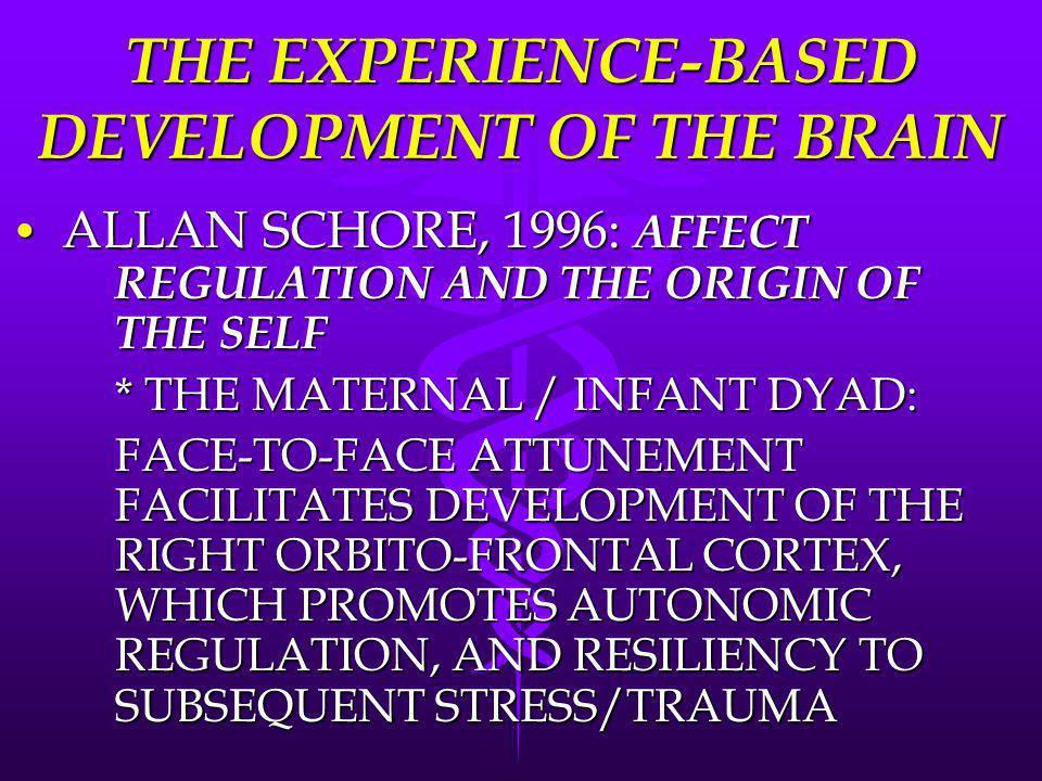 THE EXPERIENCE-BASED DEVELOPMENT OF THE BRAIN