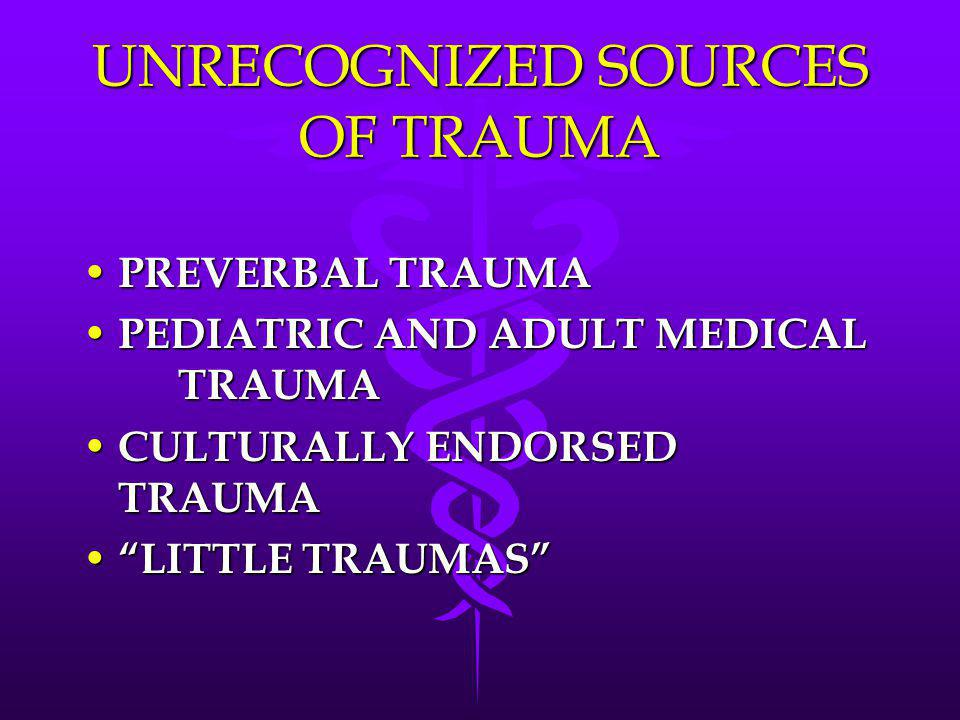 UNRECOGNIZED SOURCES OF TRAUMA