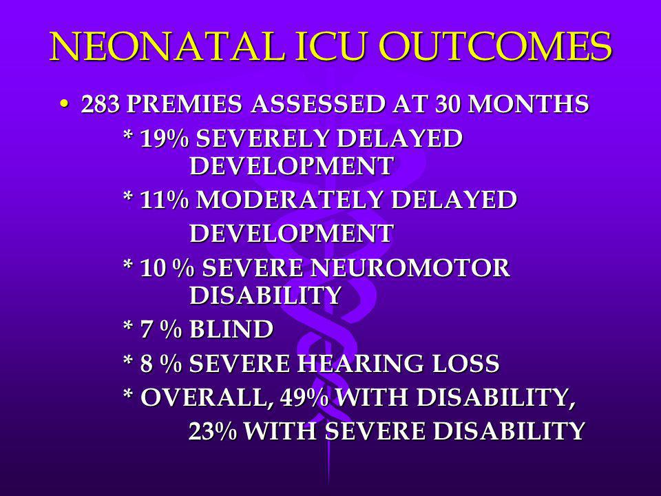NEONATAL ICU OUTCOMES 283 PREMIES ASSESSED AT 30 MONTHS