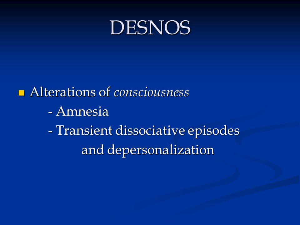 DESNOS Alterations of consciousness - Amnesia
