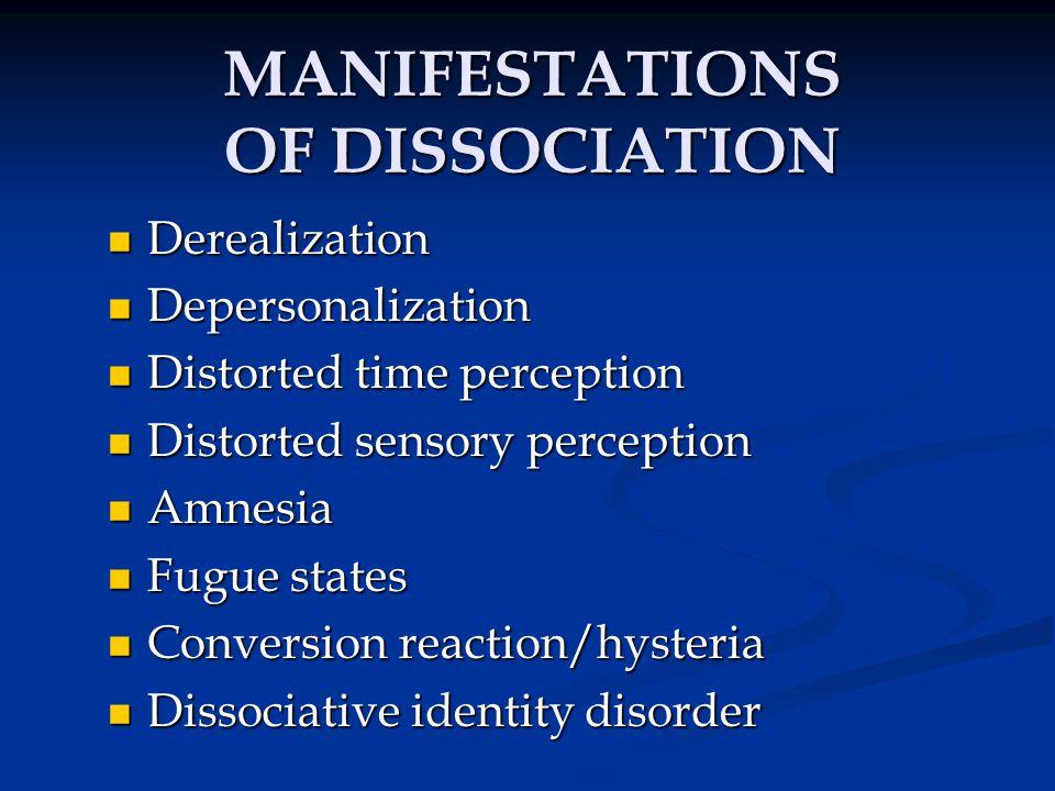 MANIFESTATIONS OF DISSOCIATION
