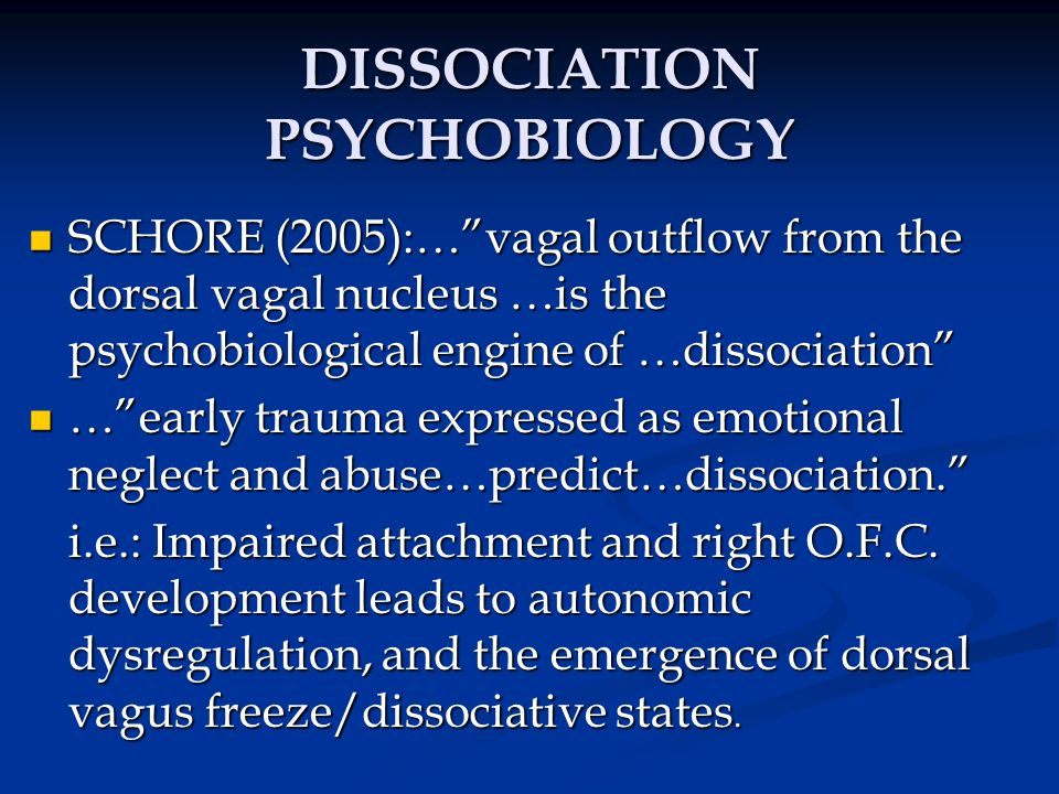 DISSOCIATION PSYCHOBIOLOGY