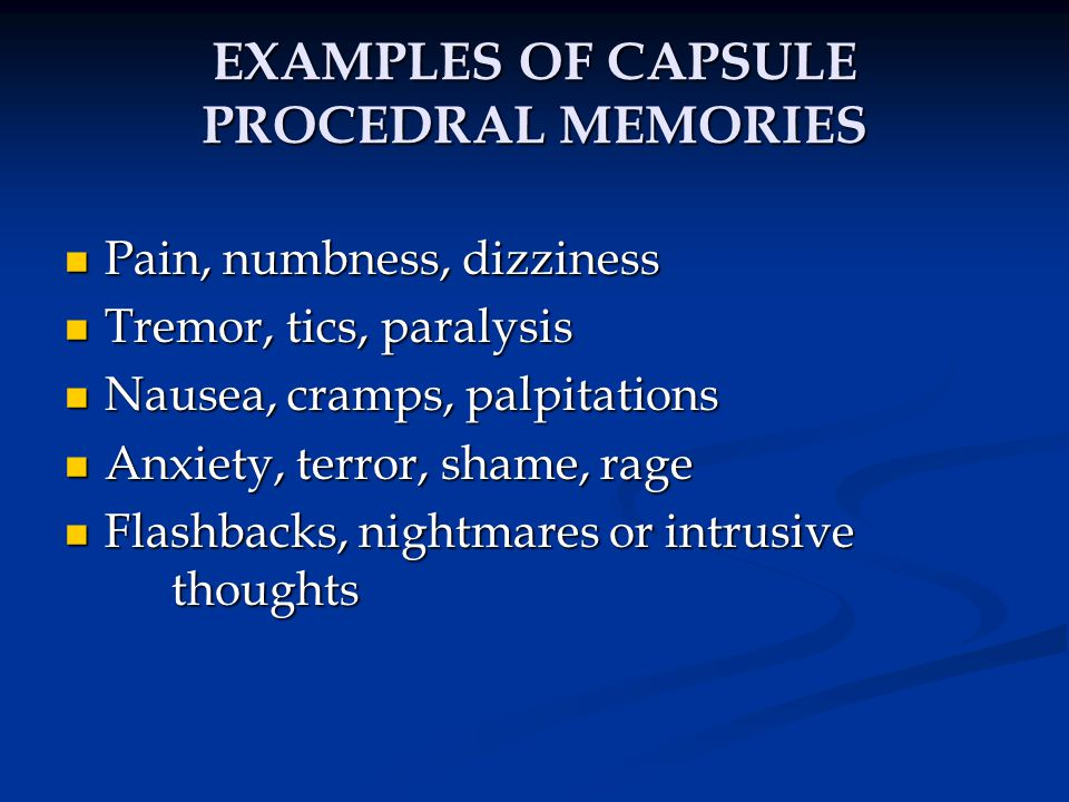 EXAMPLES OF CAPSULE PROCEDRAL MEMORIES