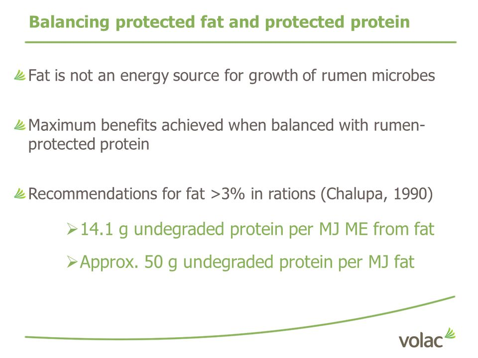 Balancing protected fat and protected protein
