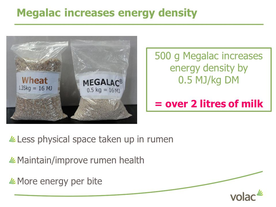 Megalac increases energy density