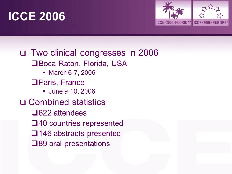 ICCE 2006 Two clinical congresses in 2006 Combined statistics
