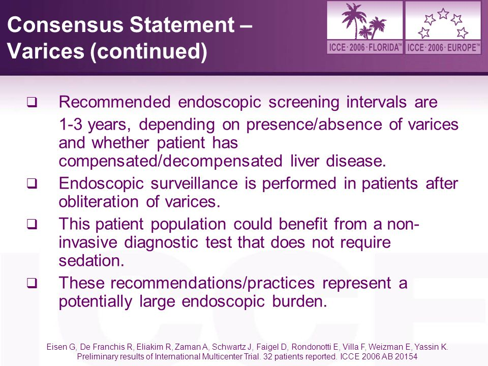 Consensus Statement – Varices (continued)