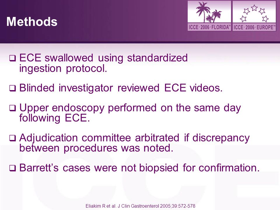 Methods ECE swallowed using standardized ingestion protocol.