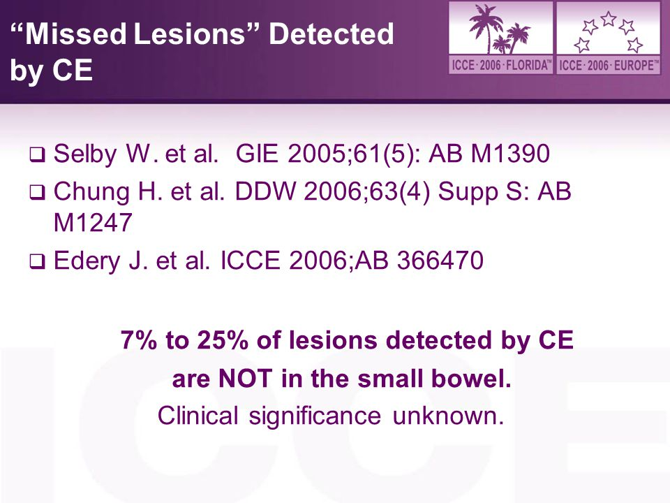 Missed Lesions Detected by CE