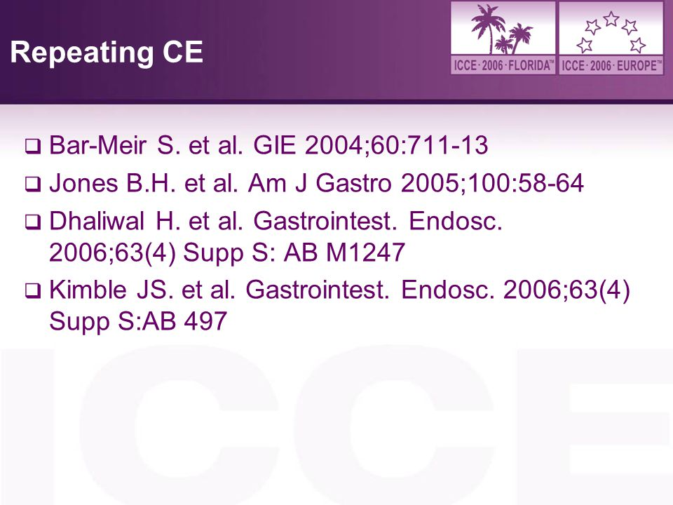 Repeating CE Bar-Meir S. et al. GIE 2004;60:711-13