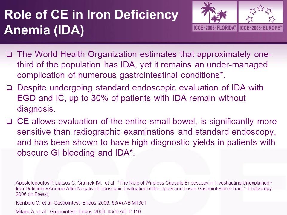 Role of CE in Iron Deficiency Anemia (IDA)