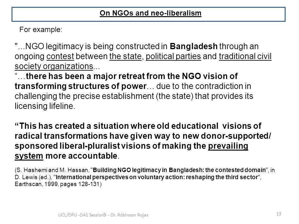 On NGOs and neo-liberalism