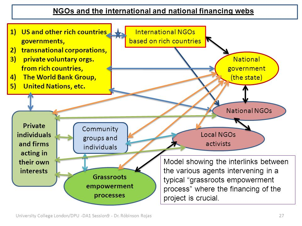 NGOs and the international and national financing webs