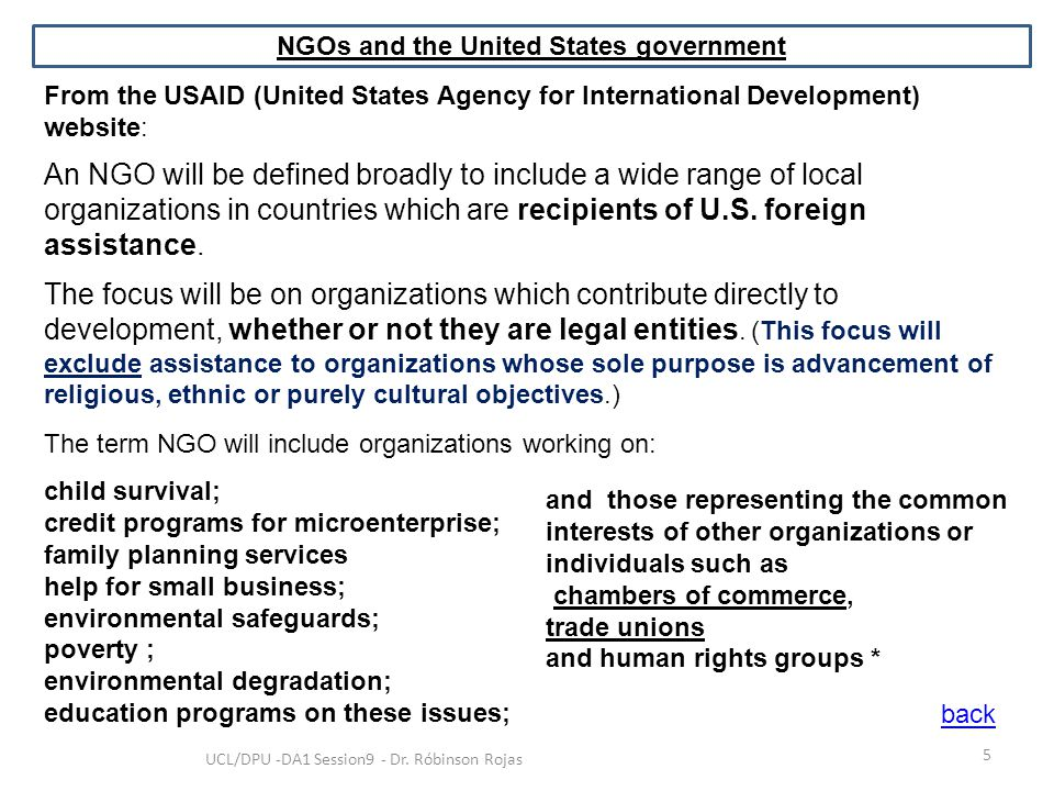 NGOs and the United States government