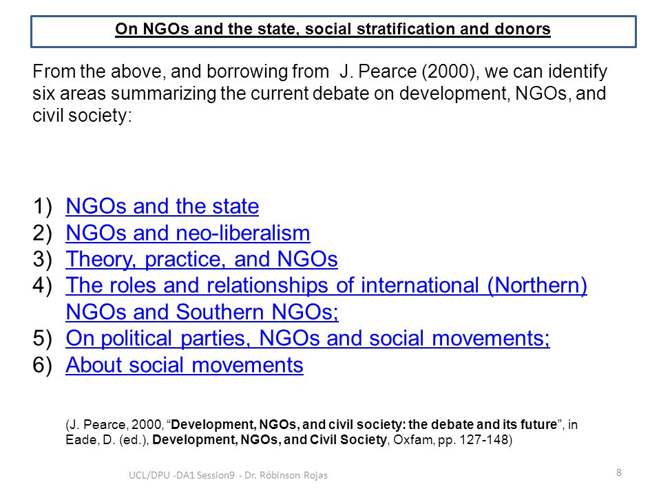 On NGOs and the state, social stratification and donors