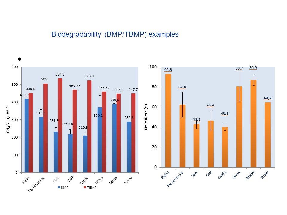 Biodegradability (BMP/TBMP) examples