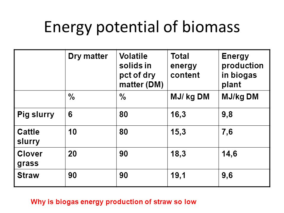 Energy potential of biomass