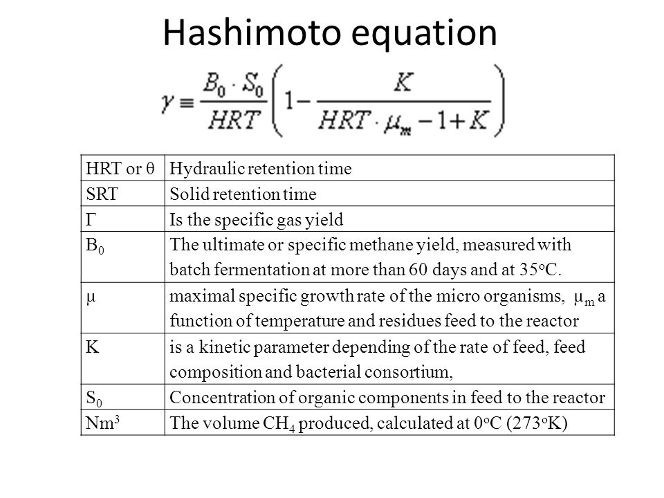 Hashimoto equation HRT or θ Hydraulic retention time SRT