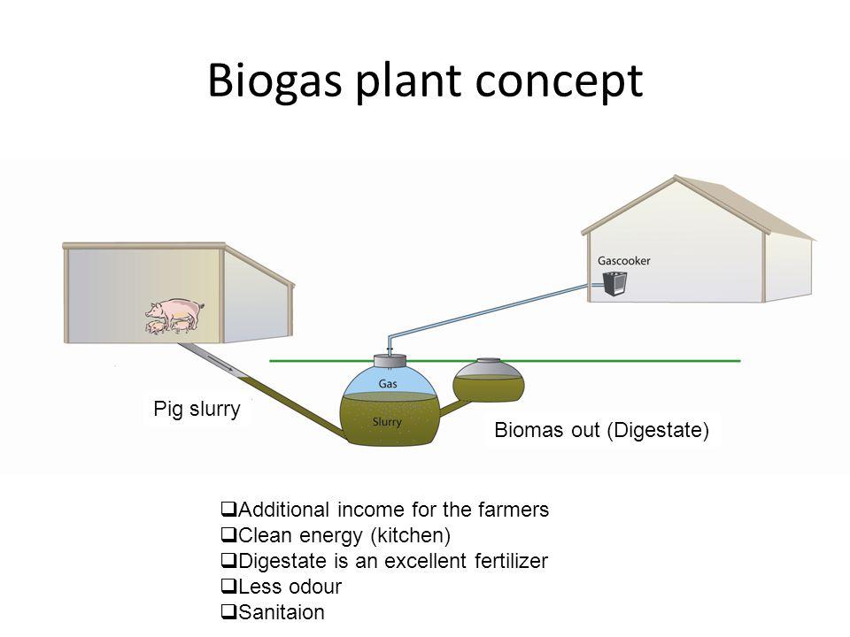 Biogas plant concept Pig slurry Biomas out (Digestate) Fe