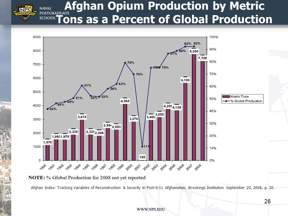 Afghan Opium Production by Metric Tons as a Percent of Global Production