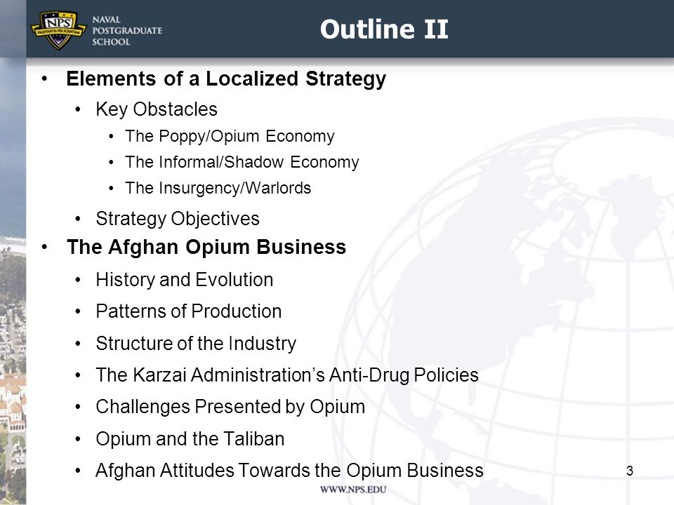 Outline II Elements of a Localized Strategy The Afghan Opium Business