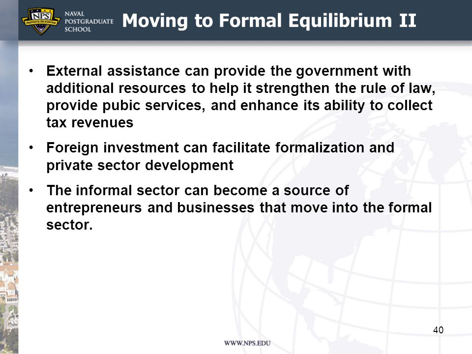 Moving to Formal Equilibrium II