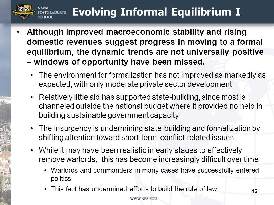 Evolving Informal Equilibrium I