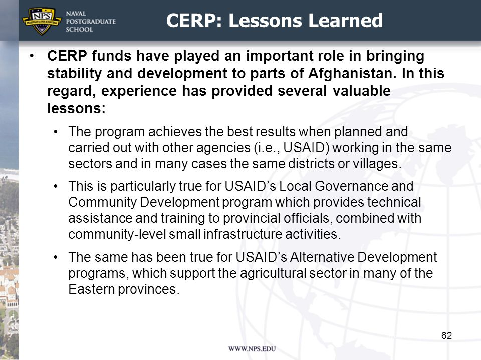 CERP: Lessons Learned