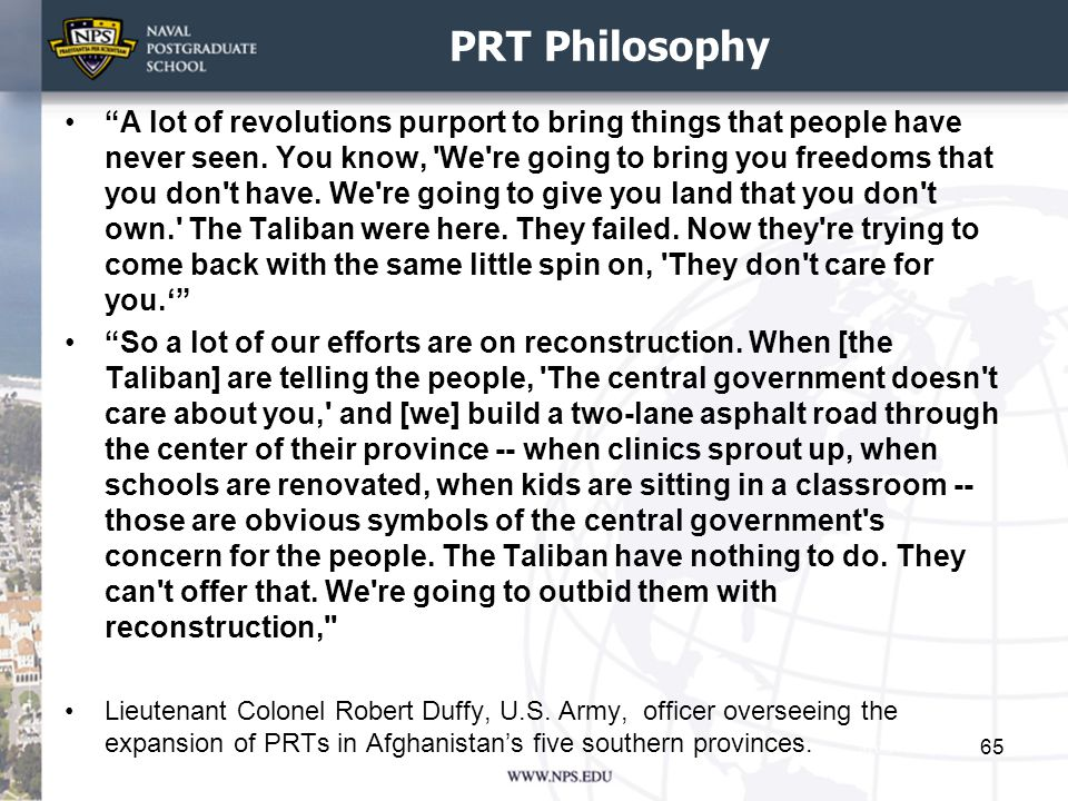 PRT Philosophy