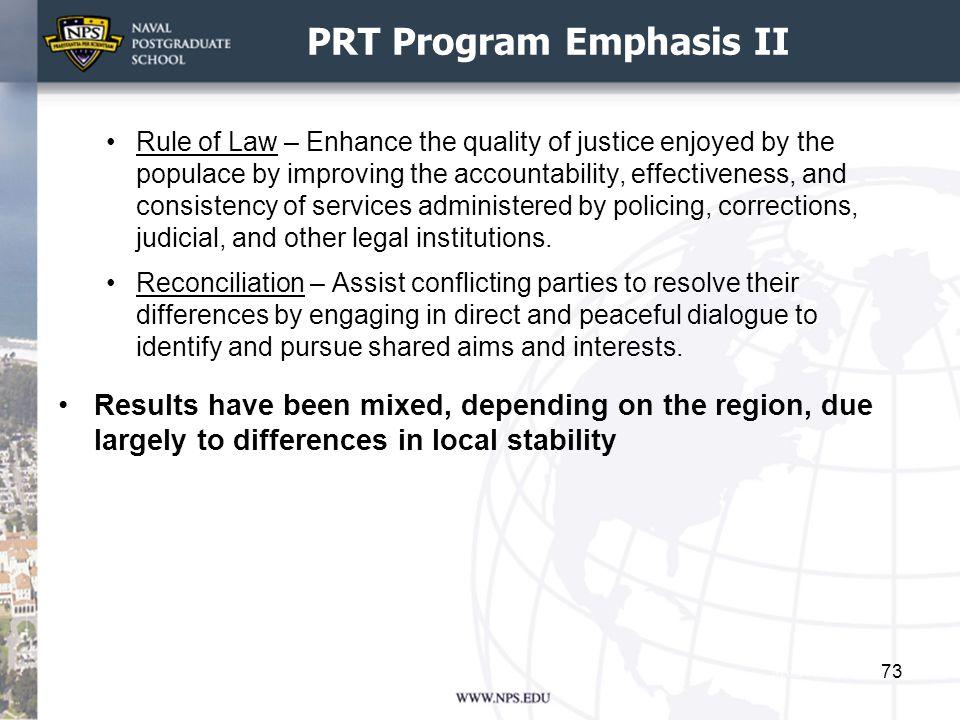 PRT Program Emphasis II