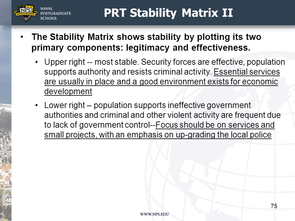 PRT Stability Matrix II