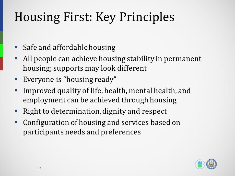 Housing First: Key Principles