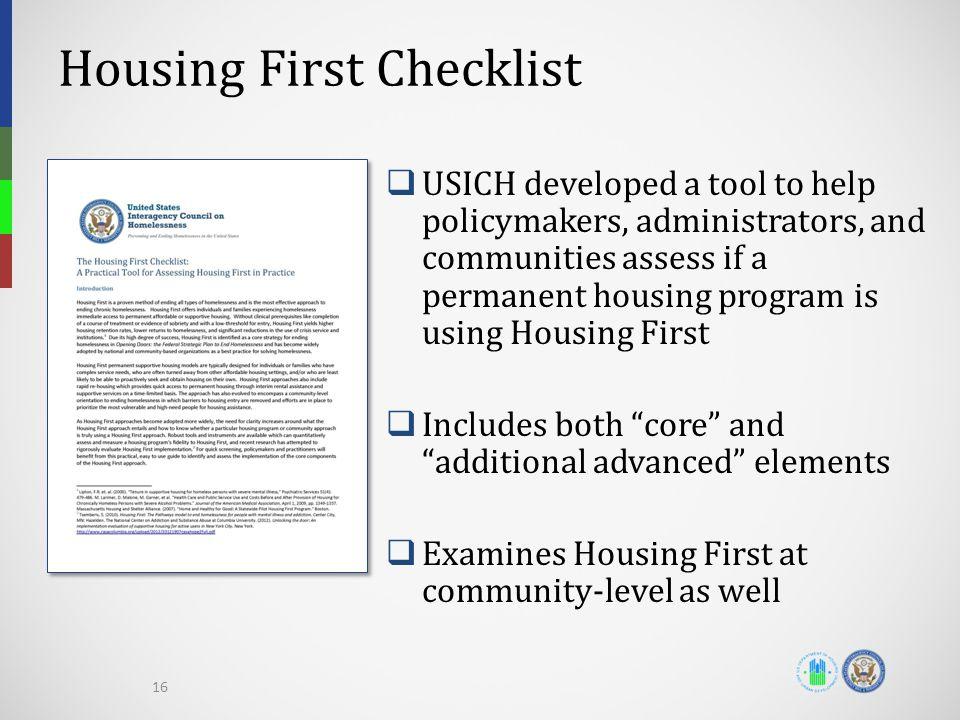 Housing First Checklist