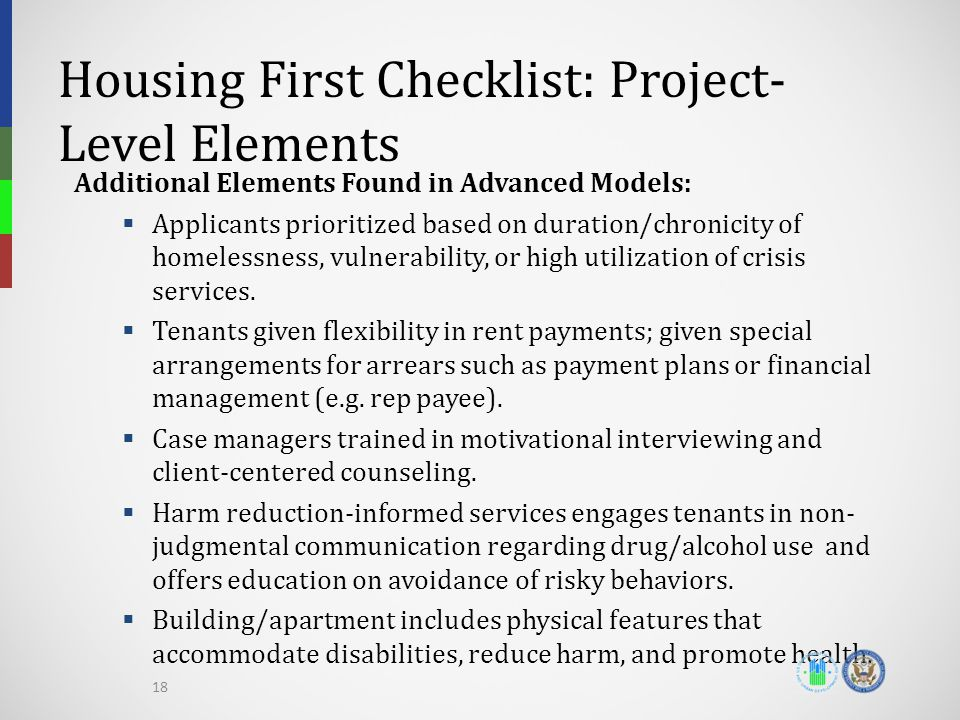 Housing First Checklist: Project-Level Elements