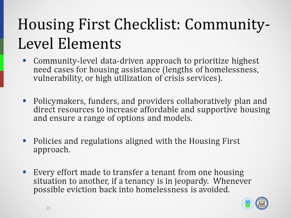 Housing First Checklist: Community-Level Elements