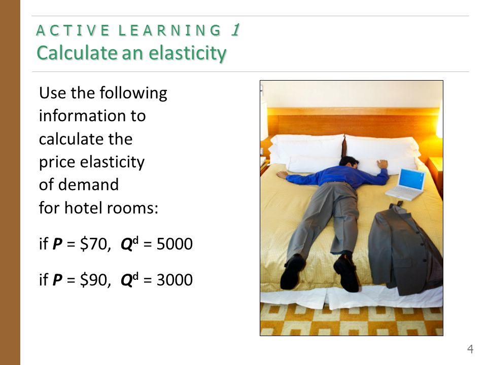 A C T I V E L E A R N I N G 1 Calculate an elasticity