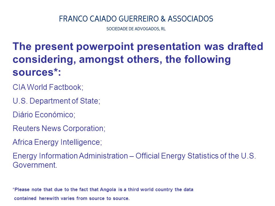 The present powerpoint presentation was drafted considering, amongst others, the following sources*: